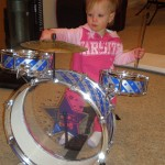 Baby Bonnyeclaire drumming 2009